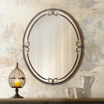 "Quoizel Duchess Bronze 24"" x 30"" Oval Wall Mirror"