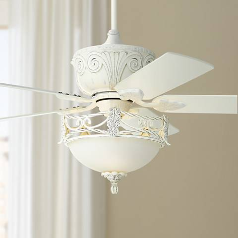 "52"" Casa Deville™ Rubbed White Ceiling Fan with Light"