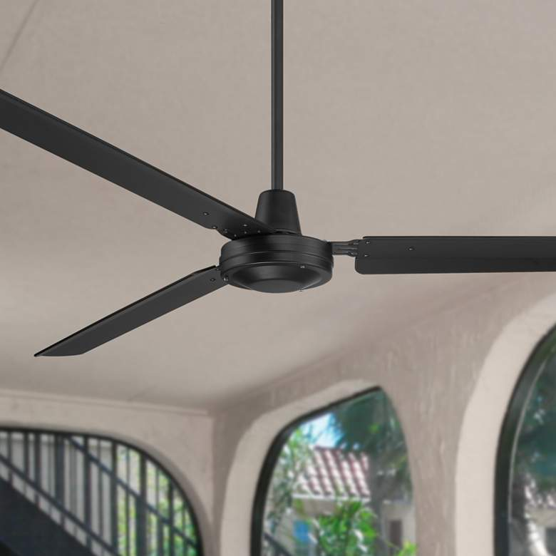 "72"" Casa Velocity Matte Black Damp Rated Ceiling Fan"