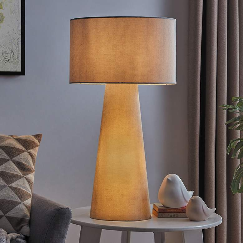 Lite Source Montebello Gray Fabric Night Light Table Lamp
