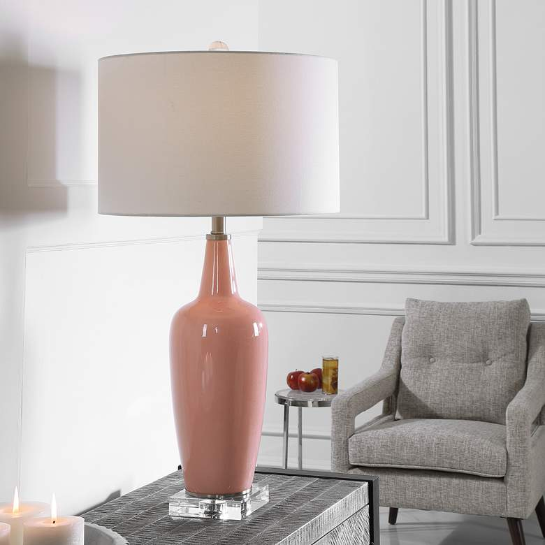 Uttermost Anastasia Light Pink Glaze Ceramic Table Lamp