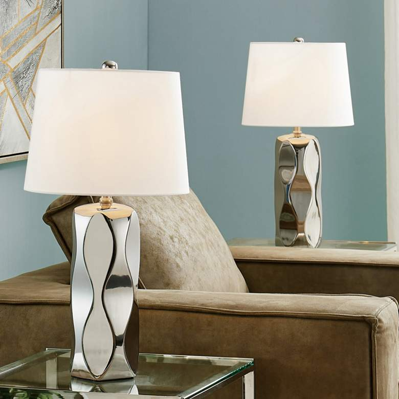 Lite Source Odelia Chrome Ceramic Table Lamps Set of 2