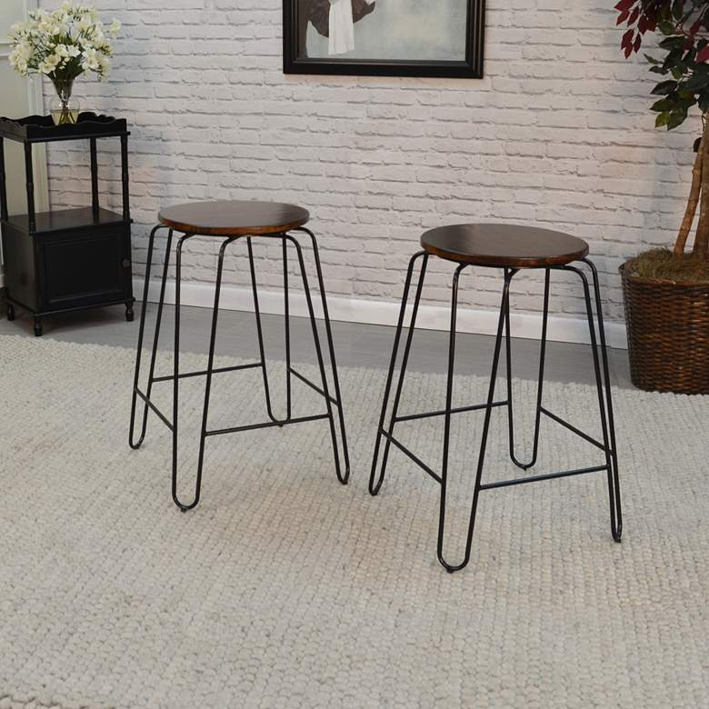 "Ethan 24"" Elm Wood and Black Counter Stools Set of 2"