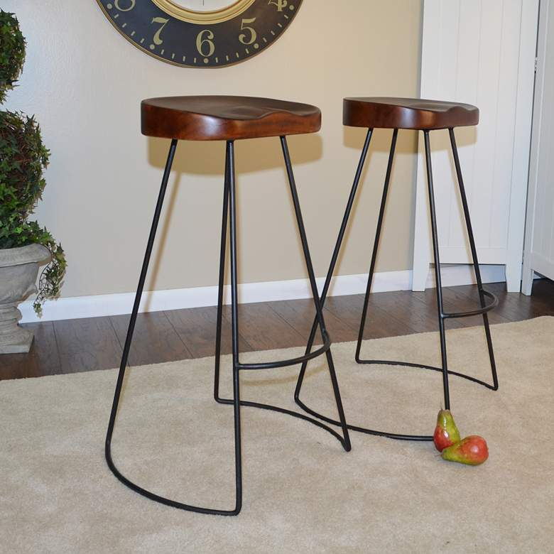 "Saga 30"" Chestnut Wood and Black Bar Stools Set of 2"