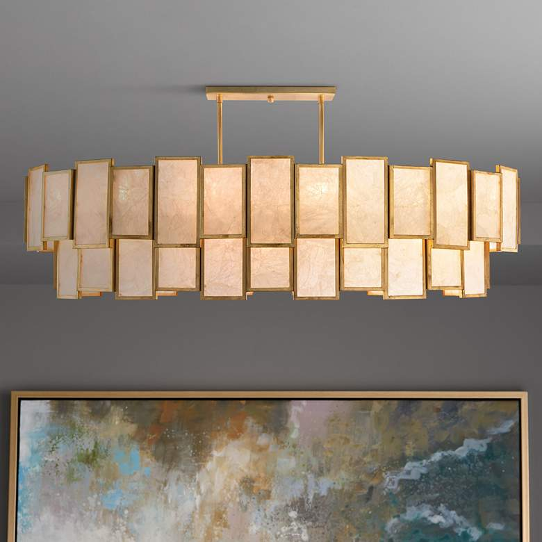 "John Richard Calcite Panel 60""W Gold Island Pendant Light"