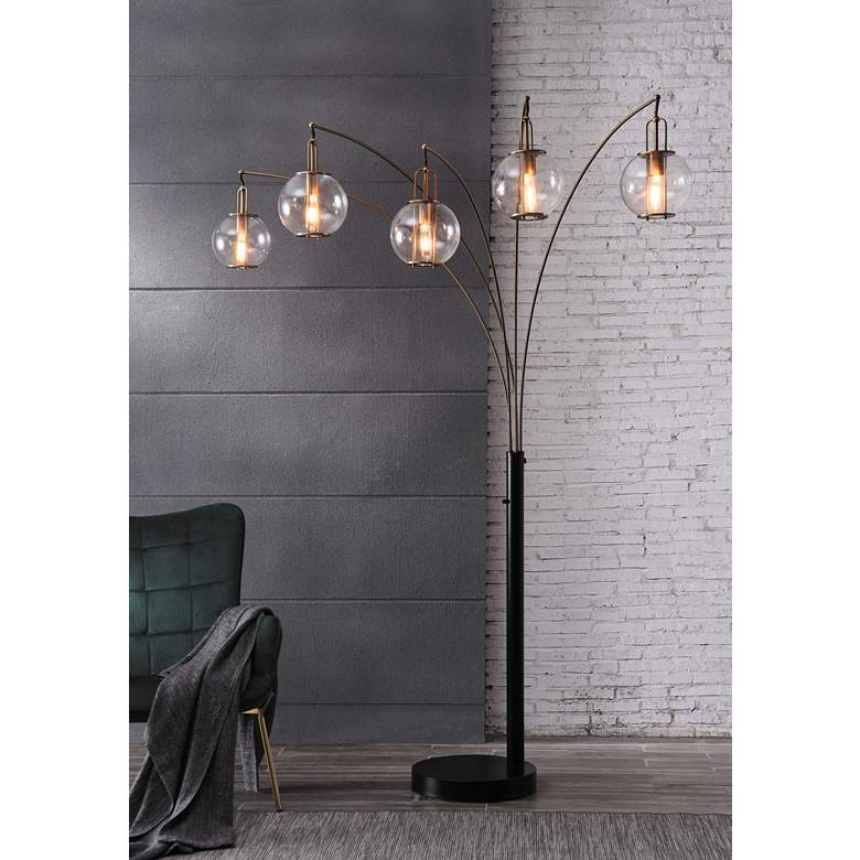 Lite Source Kaira Black and Gold 5-Light Arc Floor Lamp