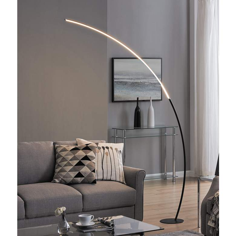 "Lite Source Monita 80"" High Black LED Arc Floor Lamp"