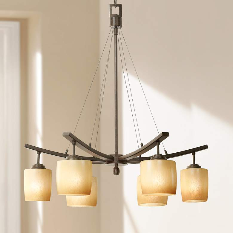 "Raiden Collection 28"" Wide Six Downlights Chandelier"