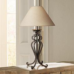 Rustic lodge metal table lamps lamps plus open scroll rustic wrought iron table lamp aloadofball Image collections
