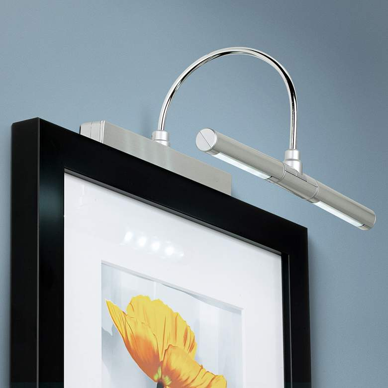 "Brushed Metal Battery Powered 13""W Dimmable Picture Light"