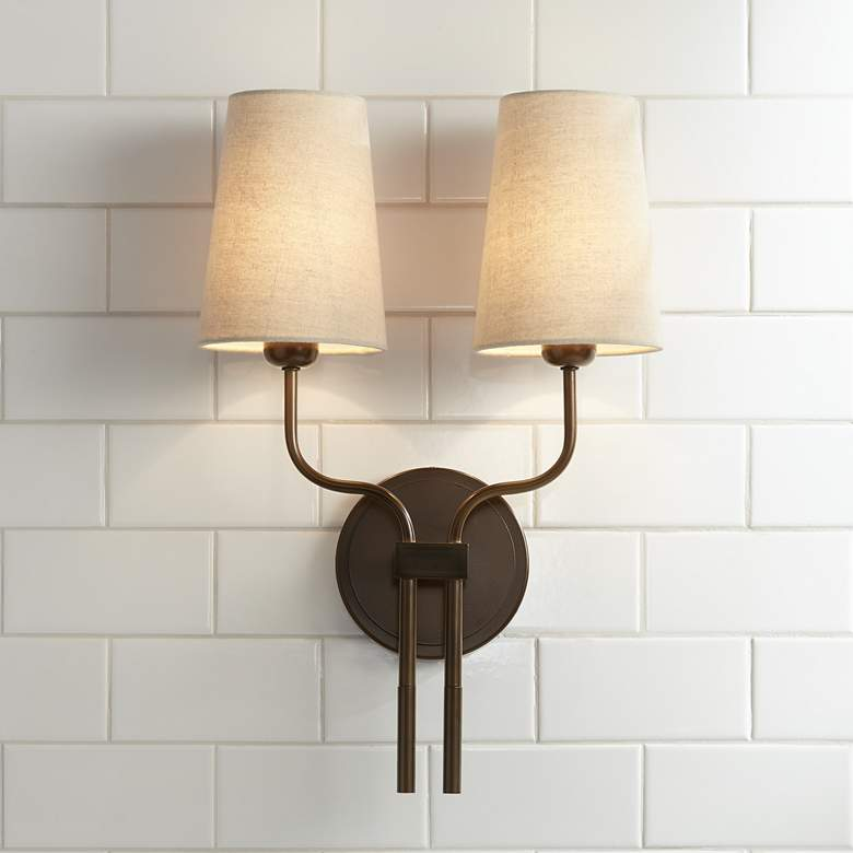 "Melody 19 1/2"" High Bronze Metal 2-Light Wall Sconce"