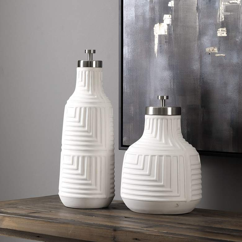 Uttermost Chandran White Decorative Containers Set of 2