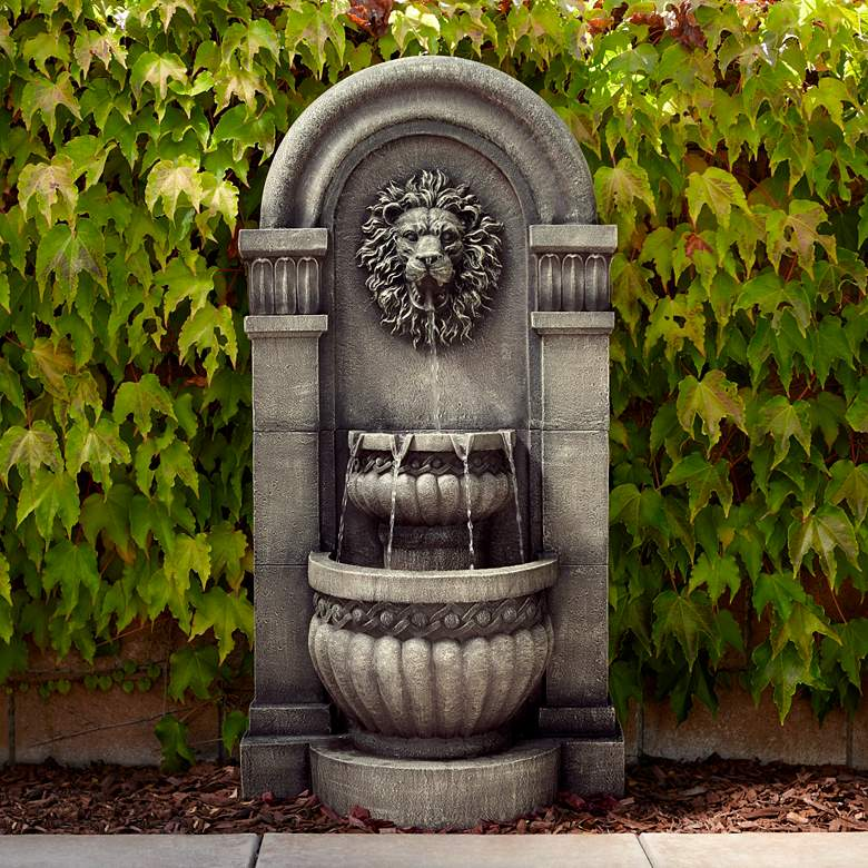 "Lion Face 50"" High Gray 2-Tier Fountain with LED Light"