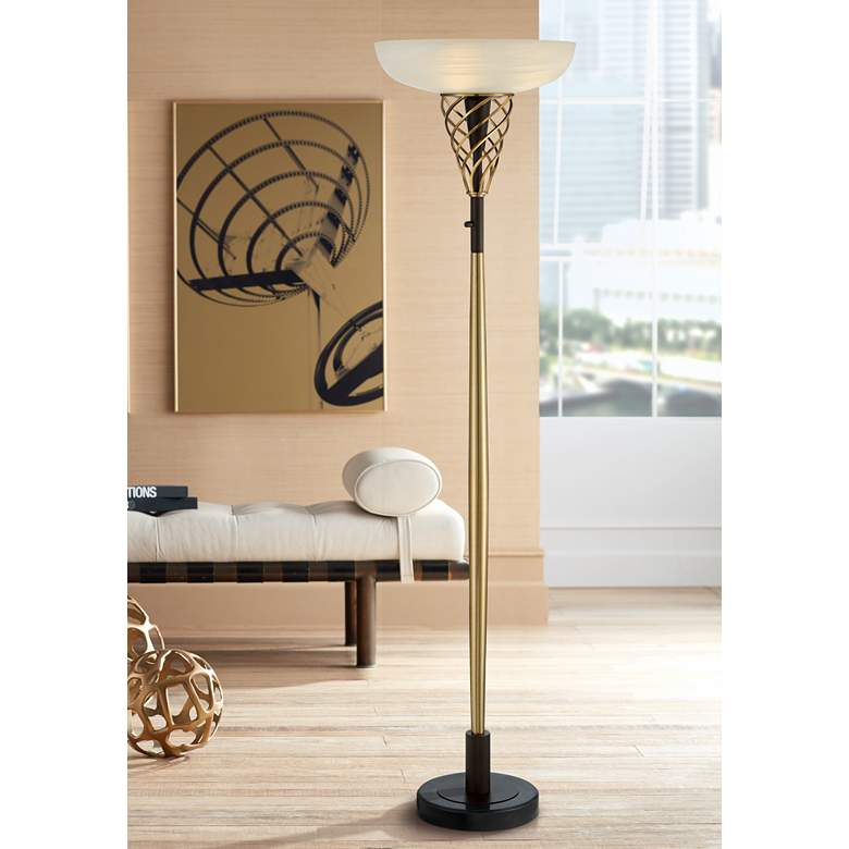 Zeus Bronze and Brass Luxe Torchiere Floor Lamp
