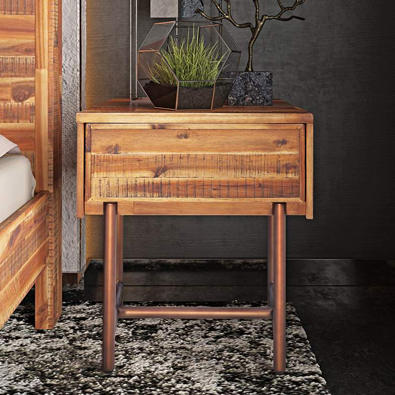 "Bushwick 19 3/4""W Natural Brown 1-Drawer Wooden Nightstand"