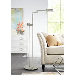 Holtkoetter Satin Nickel Contemporary Pharmacy Floor Lamp