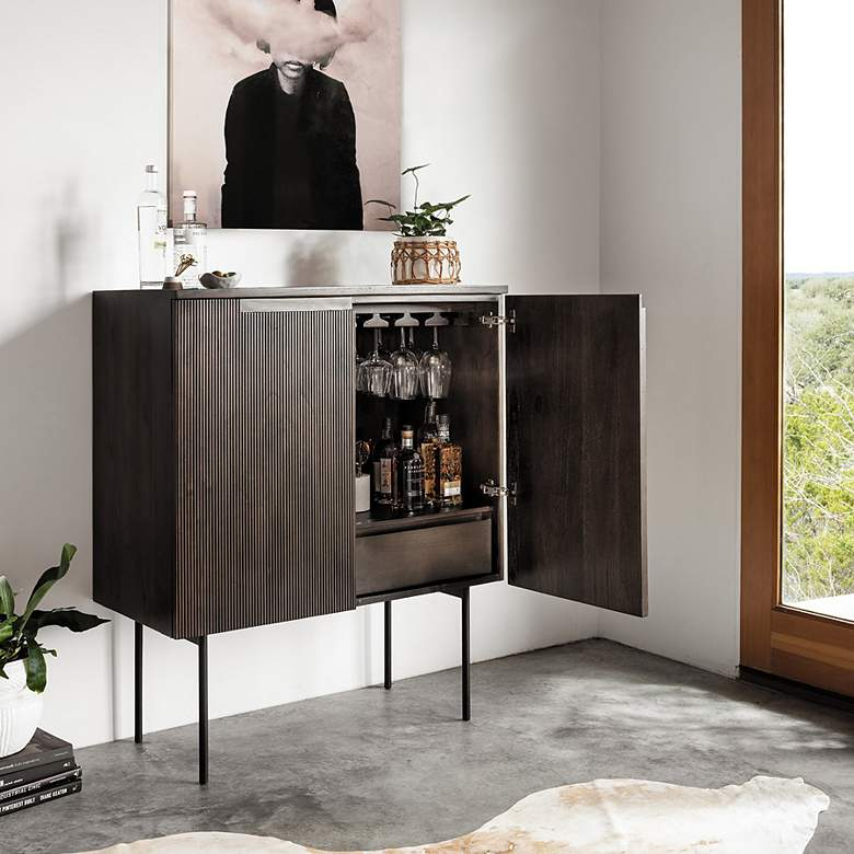 "Morrison 40"" Wide Warm Natural Mindi 2-Door Bar Cabinet"