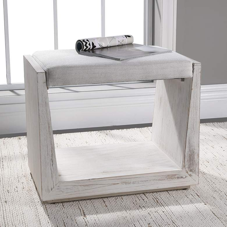 Uttermost Cabana Rustic Whitewashed Wood Small Bench