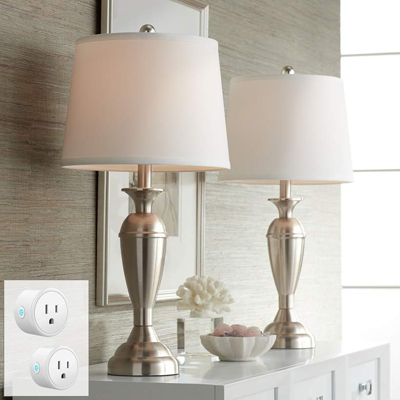 Blair Brushed Nickel Table Lamp Set of 2 with WiFi Smart Sockets