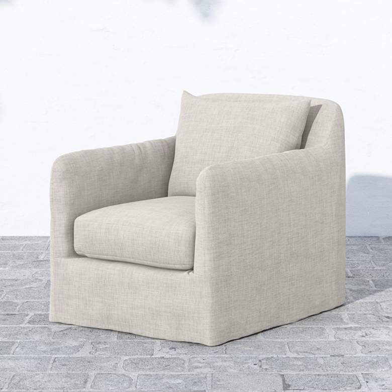 Dade Stone Gray Fabric Outdoor Swivel Chair