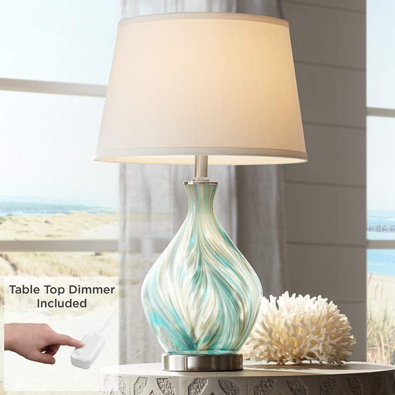 Cirrus Art Glass Vase Accent Table Lamp with Table Top Dimmer