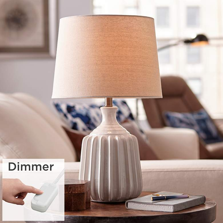 Logan Ribbed Ceramic Modern Table Lamp with Table Top Dimmer