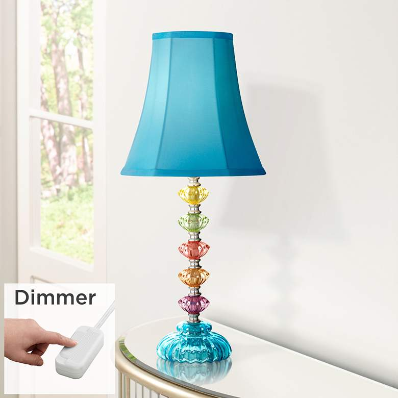 Bohemian Teal Blue Stacked Glass Lamp with Table Top Dimmer