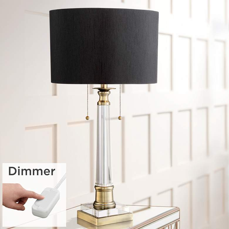 Stephan Crystal Column Table Lamp with Table Top Dimmer