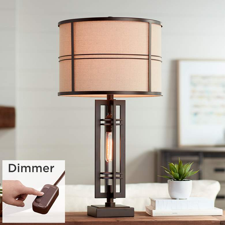Elias Oil-Rubbed Bronze Night Light Lamp with Table Top Dimmer