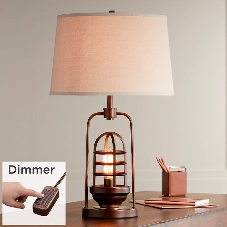 Hobie Bronze Nightlight Cage Table Lamp with Table Top Dimmer