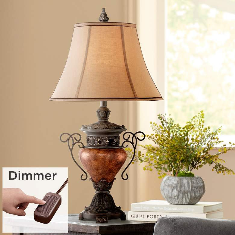 Bronze Crackle Large Urn Table Lamp with Table Top Dimmer