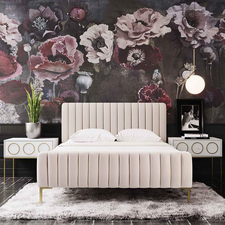 Angela Blush Velvet Fabric Tufted Queen Bed