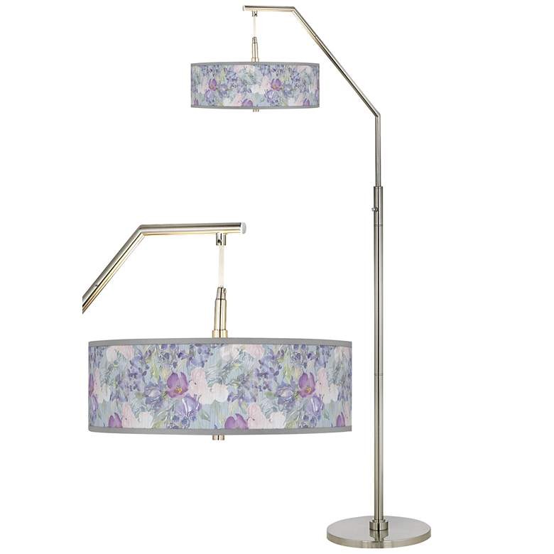 Spring Flowers Giclee Shade Arc Floor Lamp