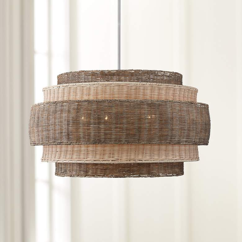 "Montauck Bay 20""W Nickel and Rattan 4-Light Pendant Light"