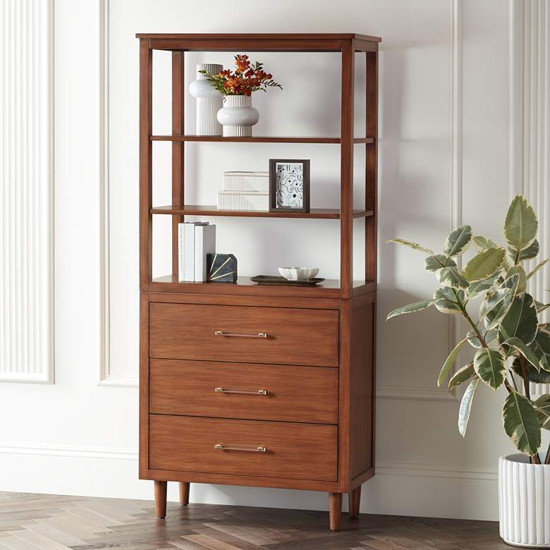"Ollie 72"" High Teak 3-Drawer and 3-Shelf Bookshelf"