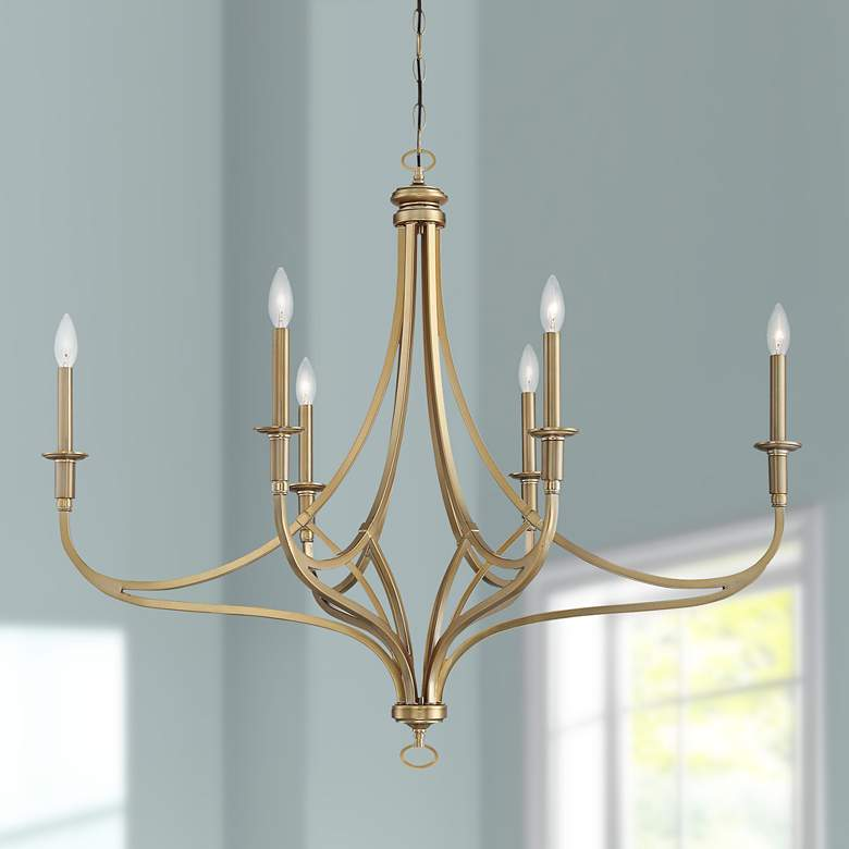 "Covent Park 40"" Wide Brushed Honey Gold 6-Light Chandelier"
