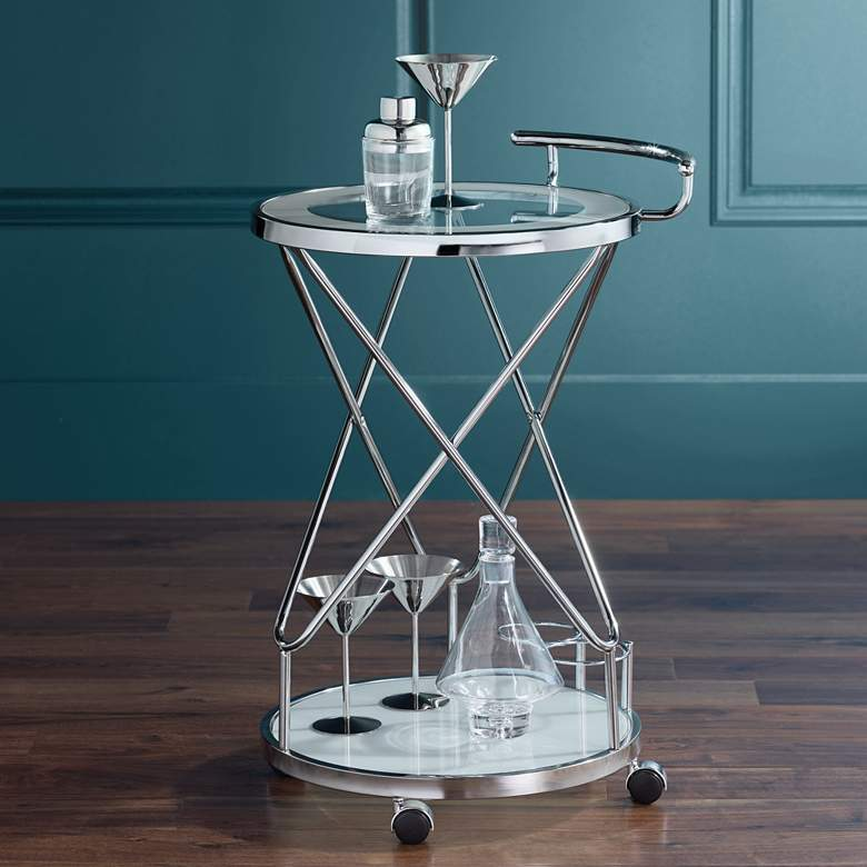 "Page 29 1/2"" High Glass and Chrome Rolling Serving Bar Cart"