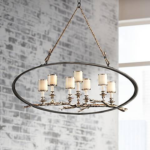 "Drift 44"" Wide Bronze with Silver Leaf Linear Pendant"
