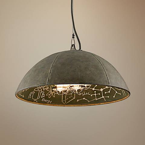 "Relativity 27"" Wide Salvage Zinc Pendant Light"