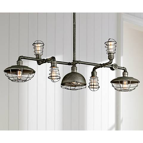 "Conduit 46 1/2"" Wide Old Silver Linear Island Pendant Light"