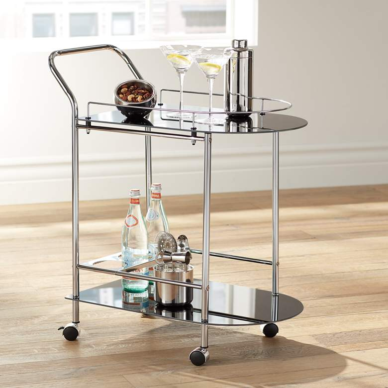 "Finn 28 1/2"" Wide Black Glass - Chrome Rolling Serving Cart"