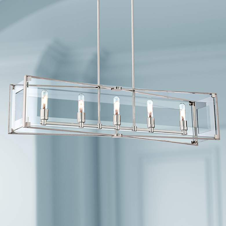 "Crystal Clear 43 1/4""W Nickel Kitchen Island Light"