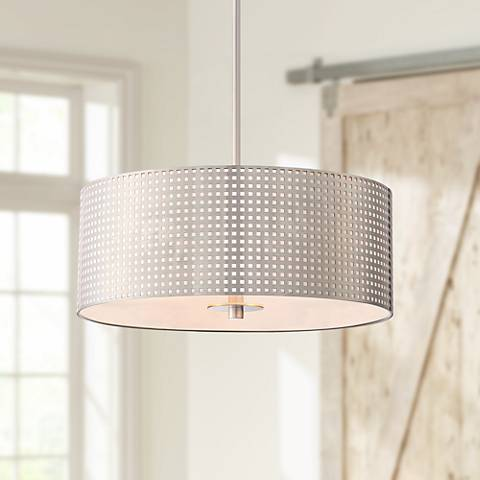 "George Kovacs Grid 18""W Brushed Nickel 3-Light Pendant"