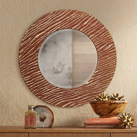 "Stimmel Brick Red Grain 30 1/2"" Round Wall Mirror"