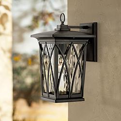 "Quoizel Grover 14 1/2""H Mystic Black Outdoor Wall Light"