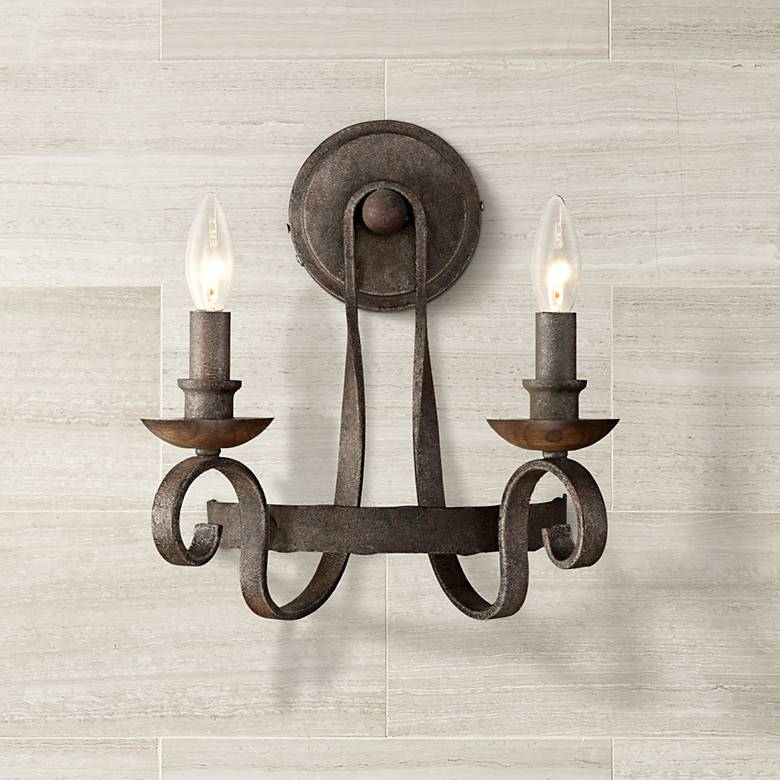 "Quoizel Noble 13"" High Rustic Black Wall Sconce"