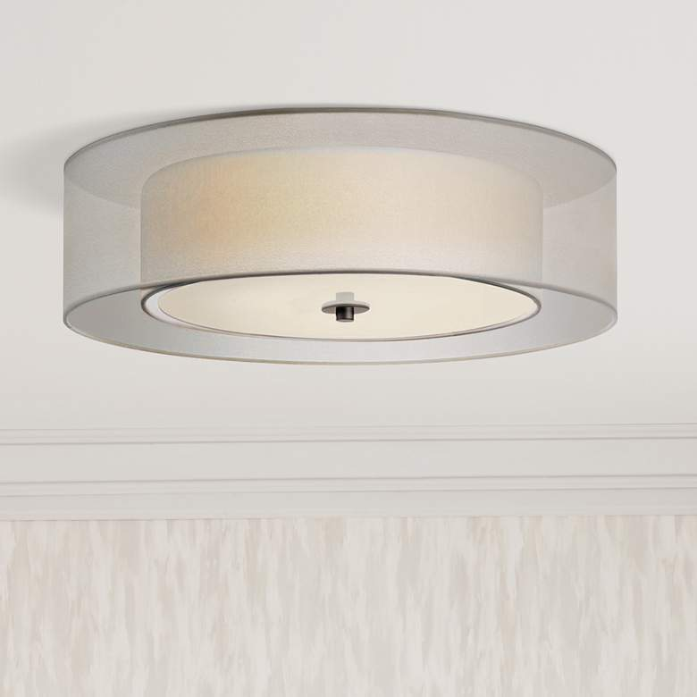 "Sonneman Puri 22""W Satin Nickel Fluorescent Ceiling Light"