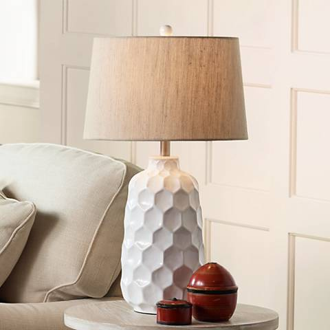 Kathy Ireland Honeycomb White Ceramic Table Lamp