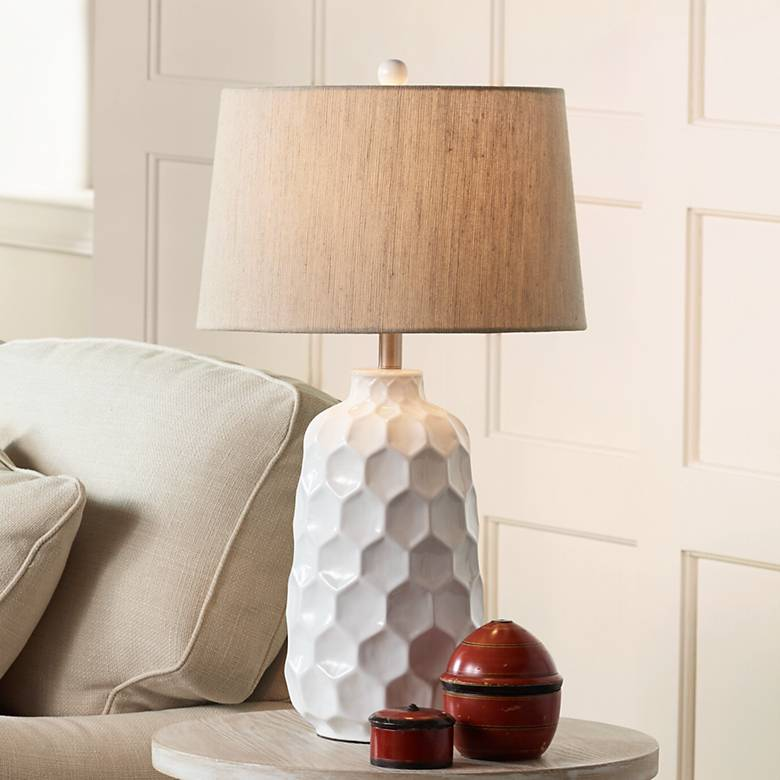 kathy ireland honeycomb white ceramic table lamp 8d348 lamps plus. Black Bedroom Furniture Sets. Home Design Ideas