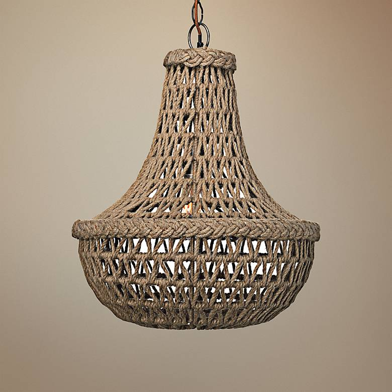 "Jamie Young Jute 18"" Wide Macrame Chandelier"